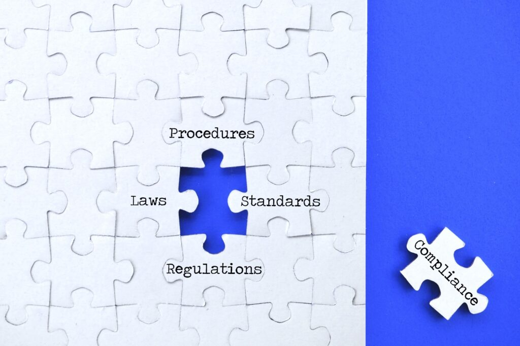 Compliance concept - changing procedures to adhere to regulations laws standards - puzzle pieces